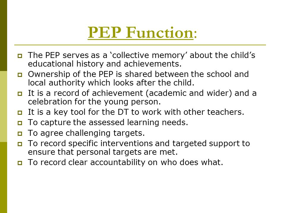 PEP Function: The PEP serves as a 'collective memory' about the child's educational history and achievements.