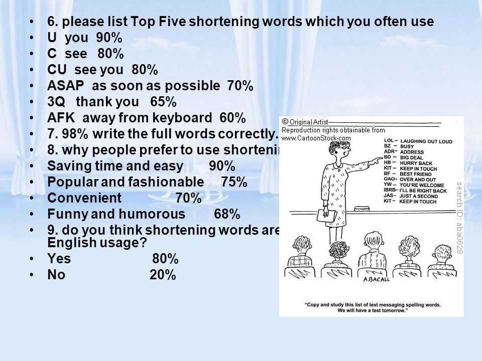 6. please list Top Five shortening words which you often use