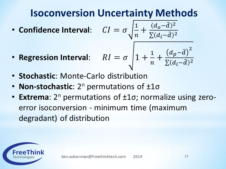 Isoconversion Uncertainty Methods ken.waterman@freethinktech.com 2014
