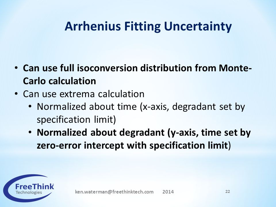 Arrhenius Fitting Uncertainty ken.waterman@freethinktech.com 2014