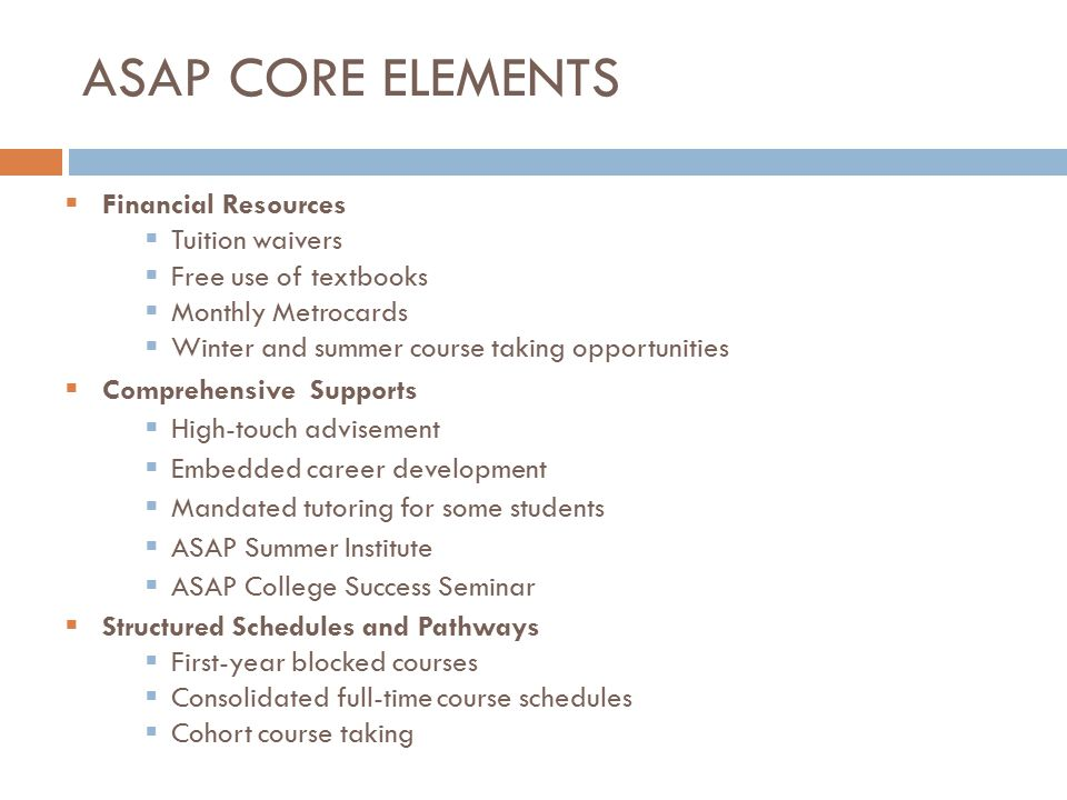 ASAP Core elements Financial Resources Tuition waivers