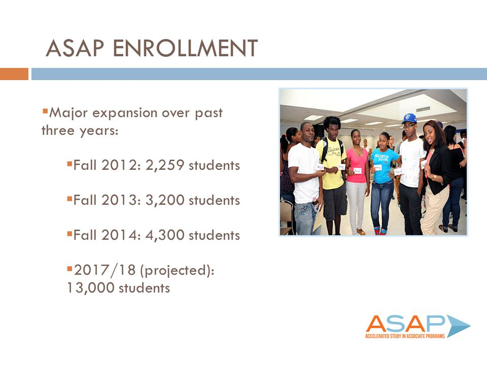 ASAP Enrollment Major expansion over past three years: