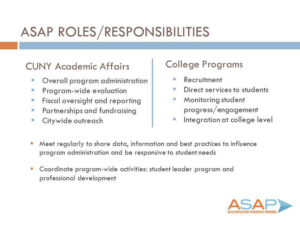 ASAP Roles/responsibilities