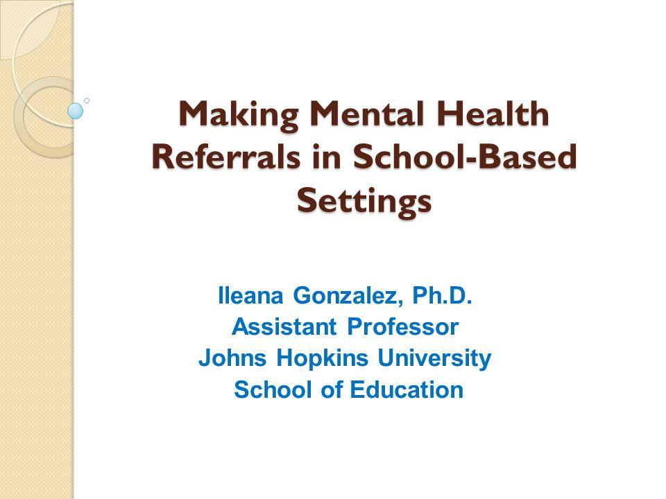 Making Mental Health Referrals in School-Based Settings