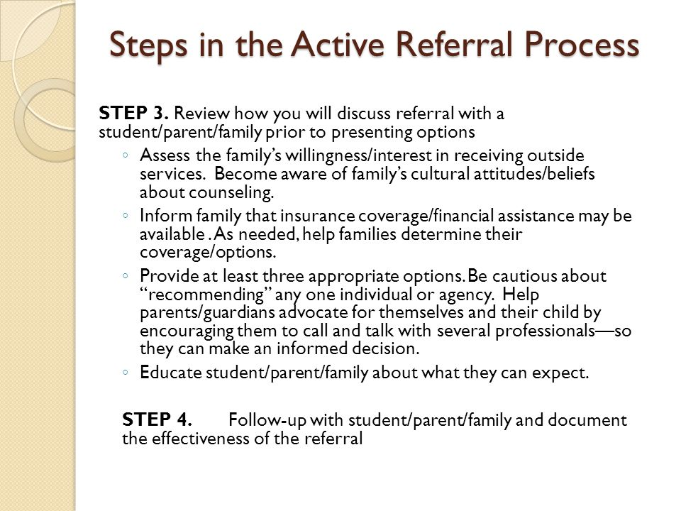 Steps in the Active Referral Process