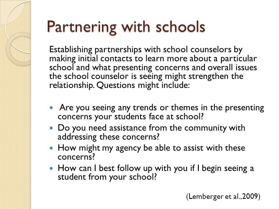 Partnering with schools