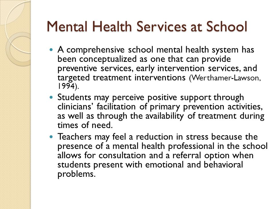 Mental Health Services at School