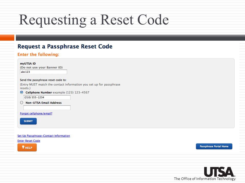 Requesting a Reset Code