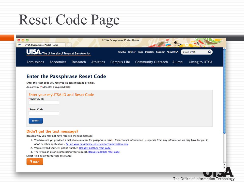 Reset Code Page This is the page displayed when the link is selected in the reset email.