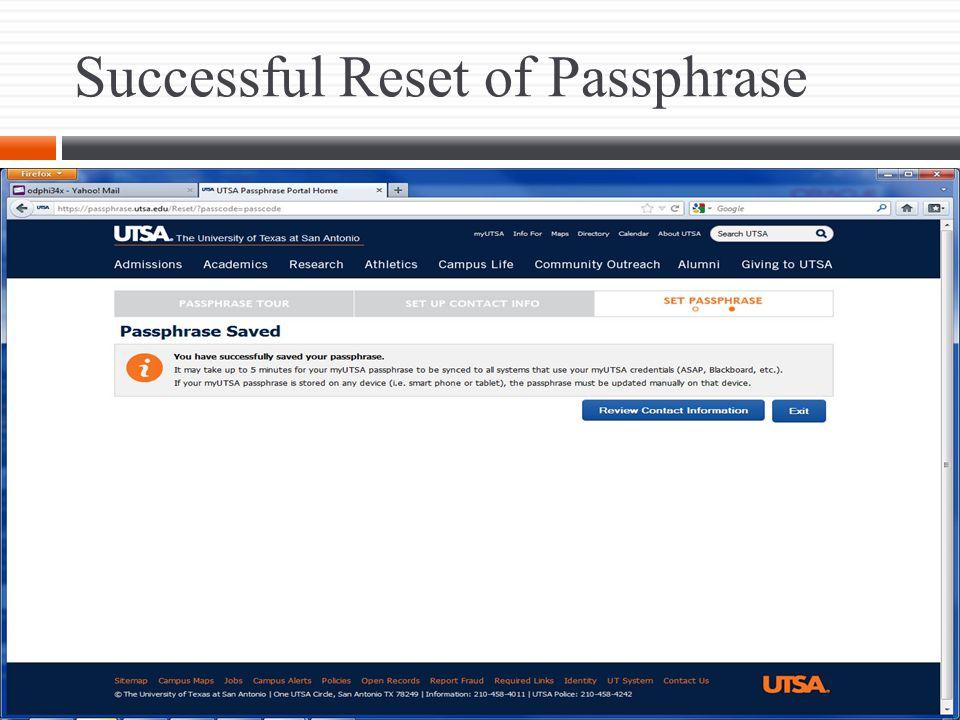 Successful Reset of Passphrase