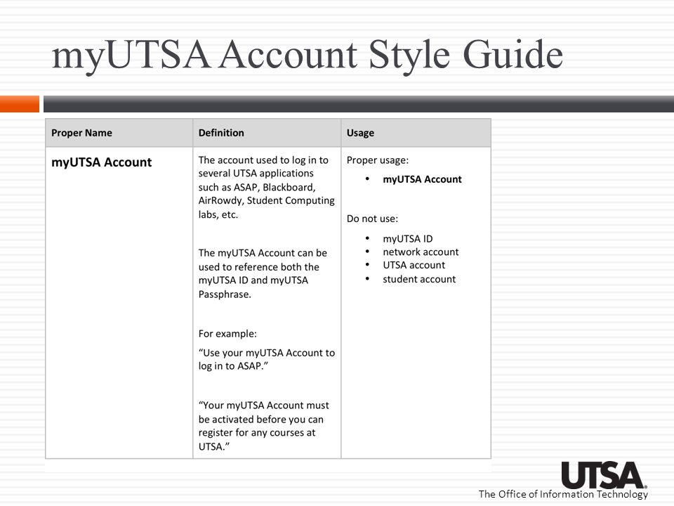 myUTSA Account Style Guide
