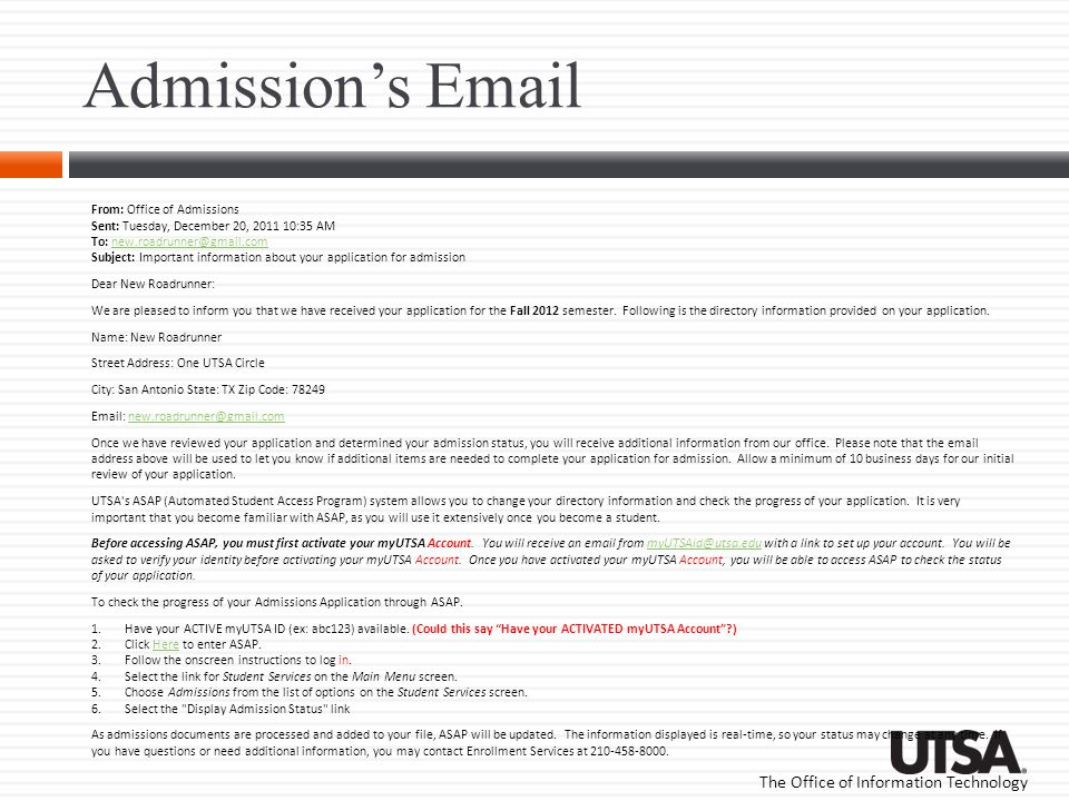 Admission's Email