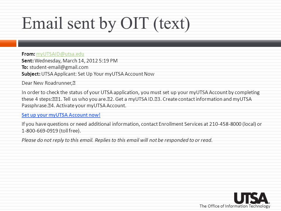 Email sent by OIT (text)