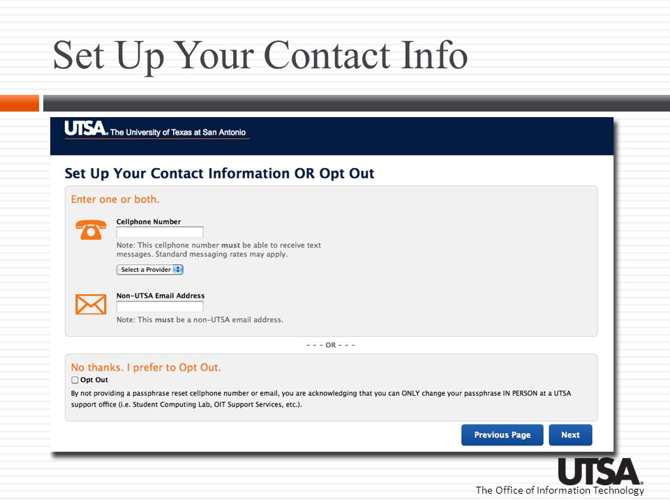 Set Up Your Contact Info