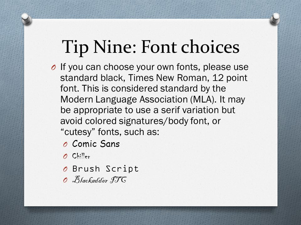 Tip Nine: Font choices