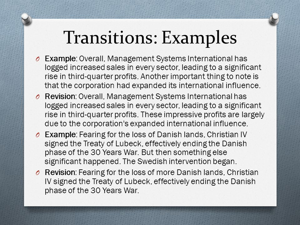 Transitions: Examples