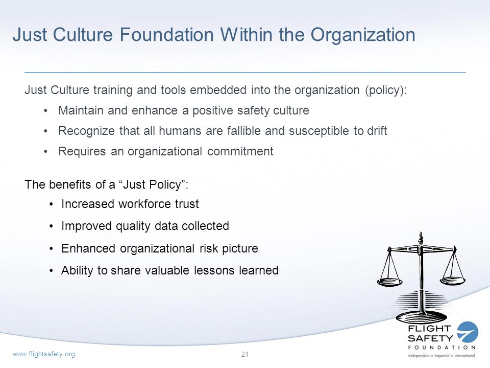 Just Culture Foundation Within the Organization