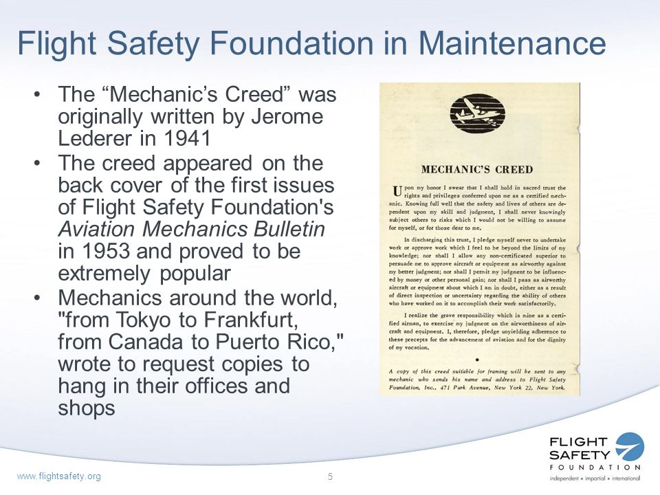 Flight Safety Foundation in Maintenance