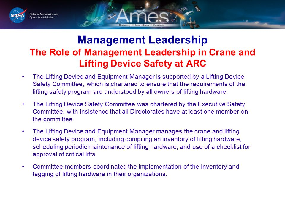 Management Leadership The Role of Management Leadership in Crane and Lifting Device Safety at ARC