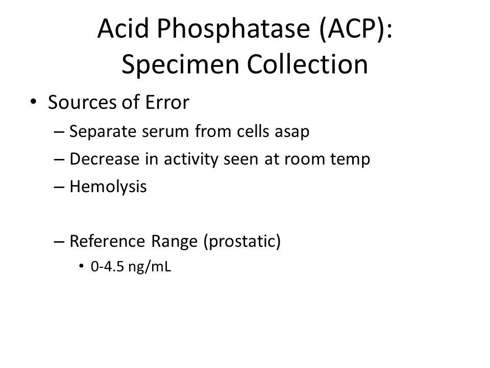 Acid Phosphatase (ACP): Specimen Collection