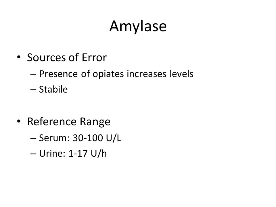 Amylase Sources of Error Reference Range