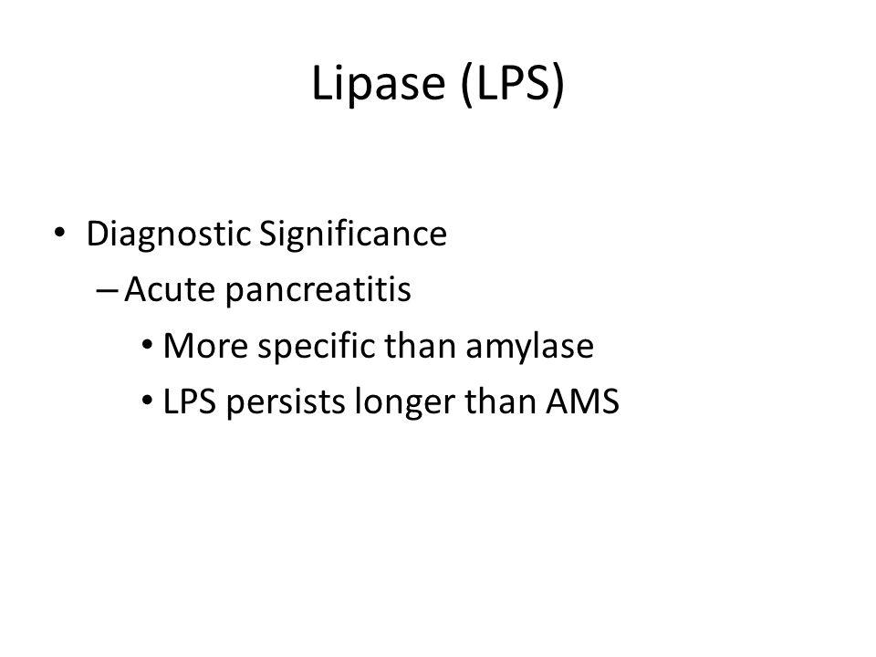 Lipase (LPS) Diagnostic Significance Acute pancreatitis