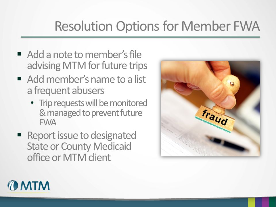 Resolution Options for Member FWA