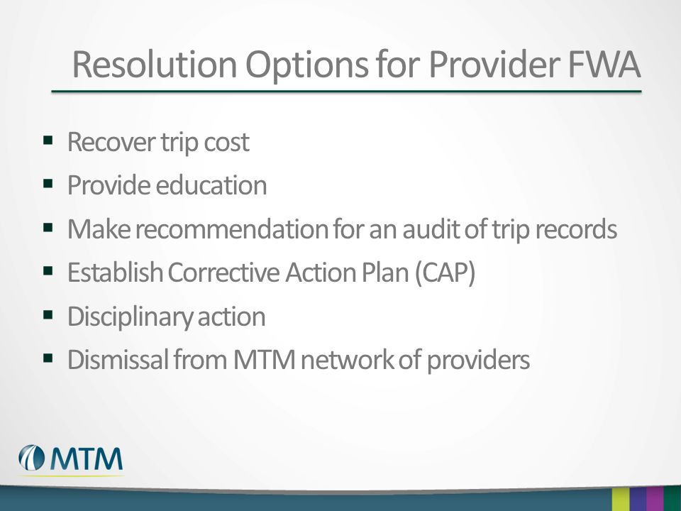 Resolution Options for Provider FWA