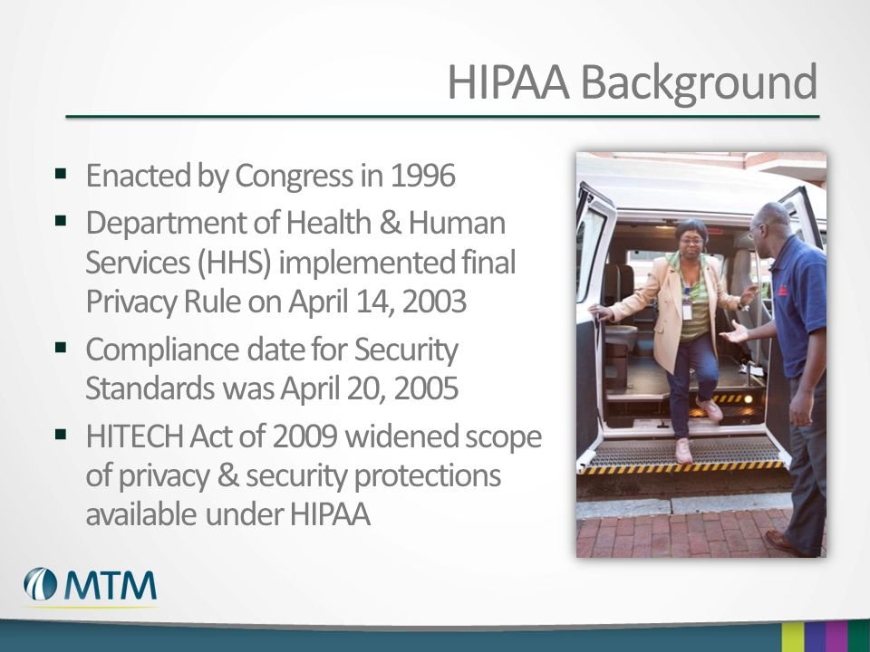 HIPAA Background Enacted by Congress in 1996