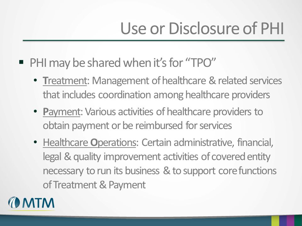 Use or Disclosure of PHI