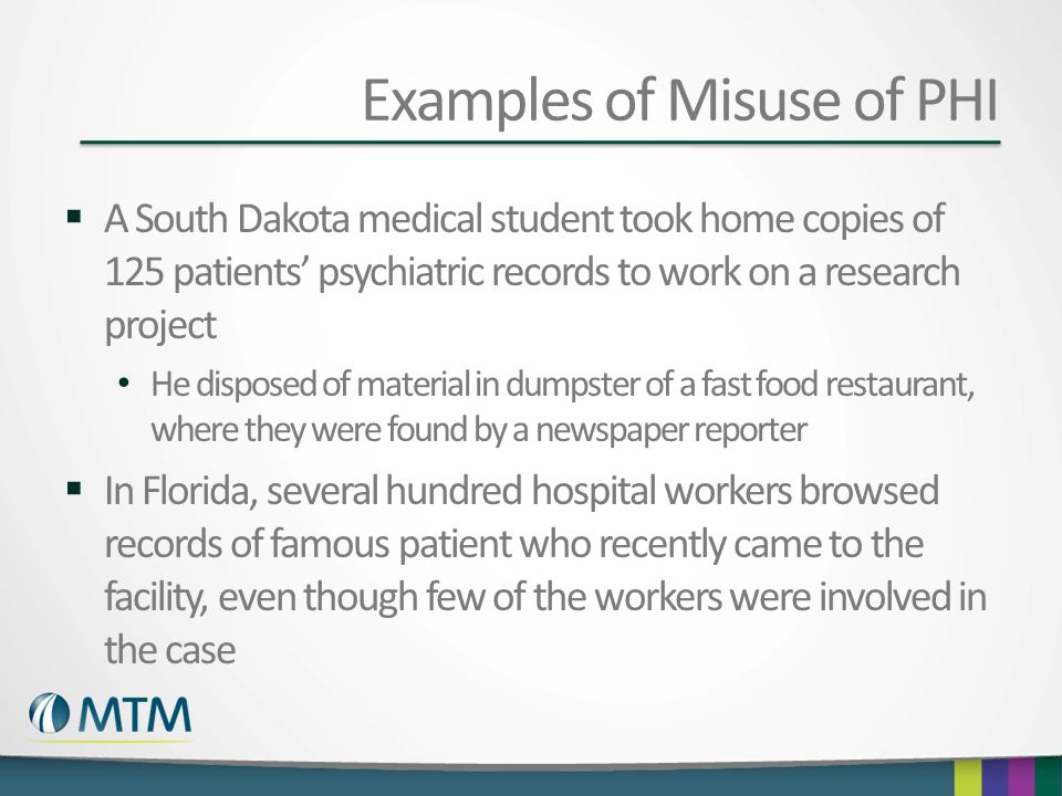 Examples of Misuse of PHI
