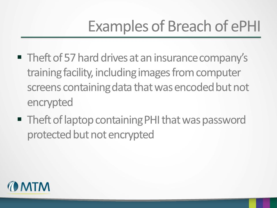Examples of Breach of ePHI