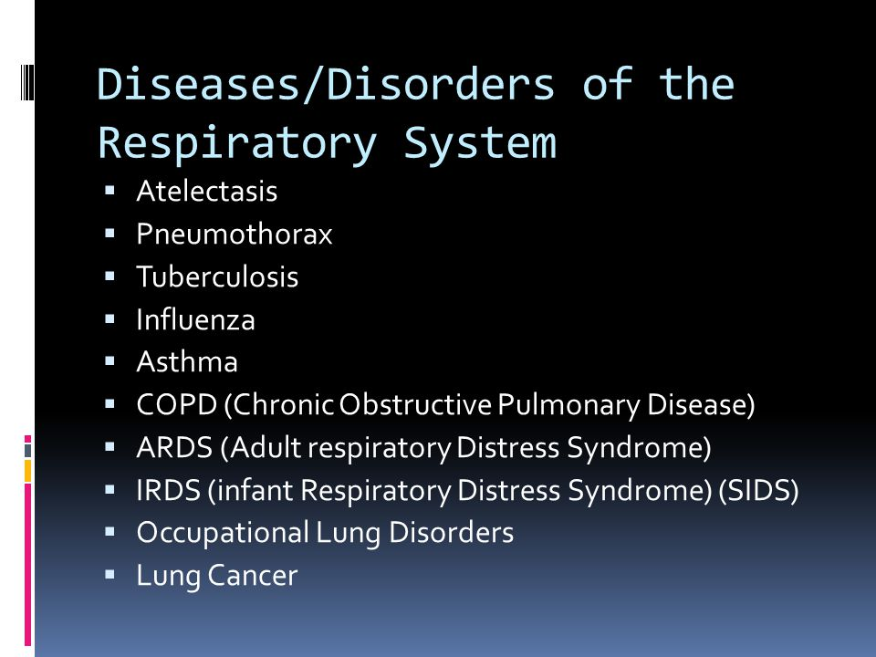 Diseases/Disorders of the Respiratory System