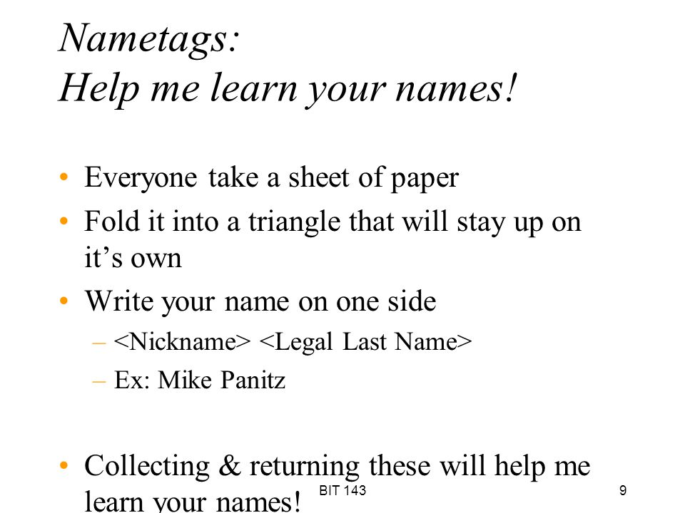 Nametags: Help me learn your names!