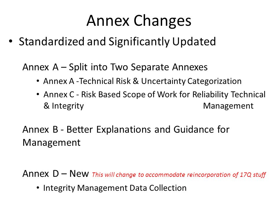 Annex Changes Standardized and Significantly Updated