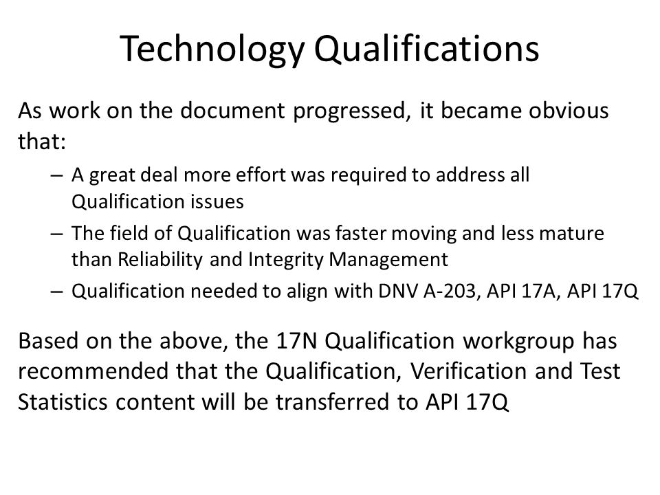 Technology Qualifications