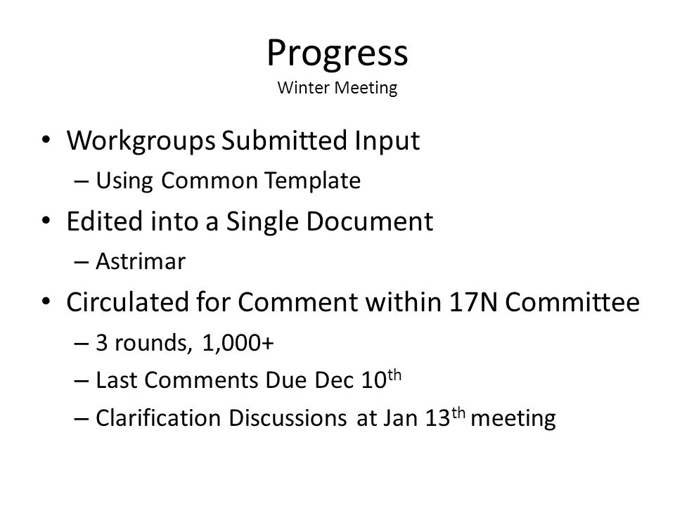 Progress Winter Meeting