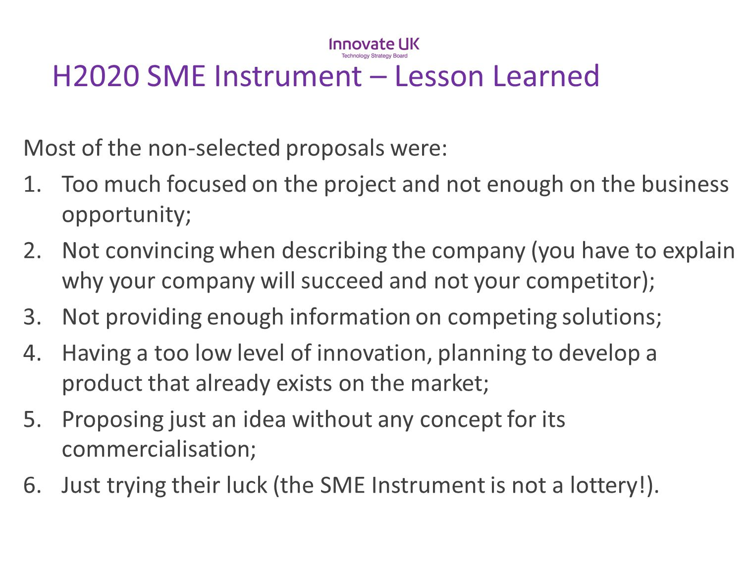 H2020 SME Instrument – Lesson Learned