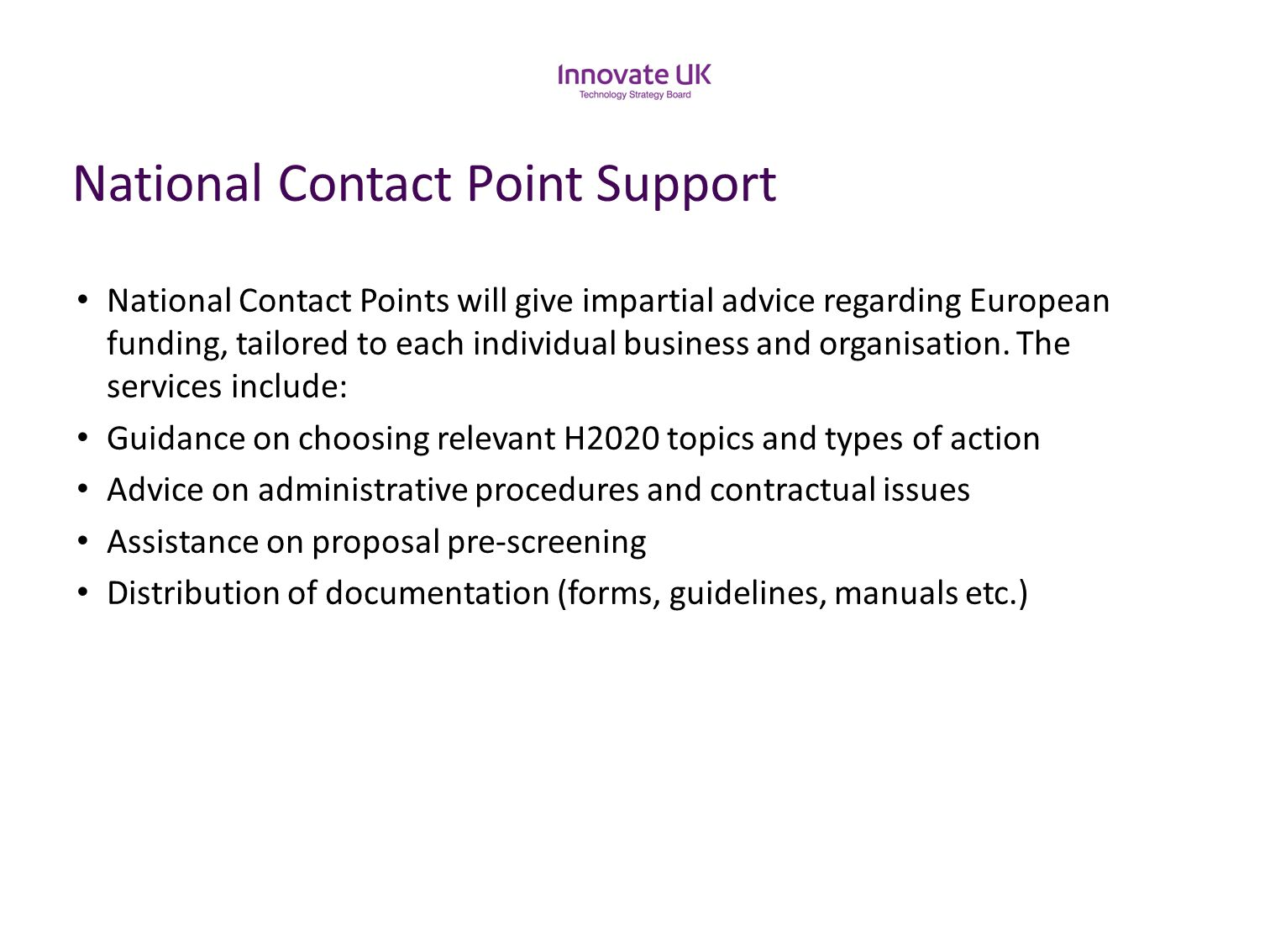 National Contact Point Support
