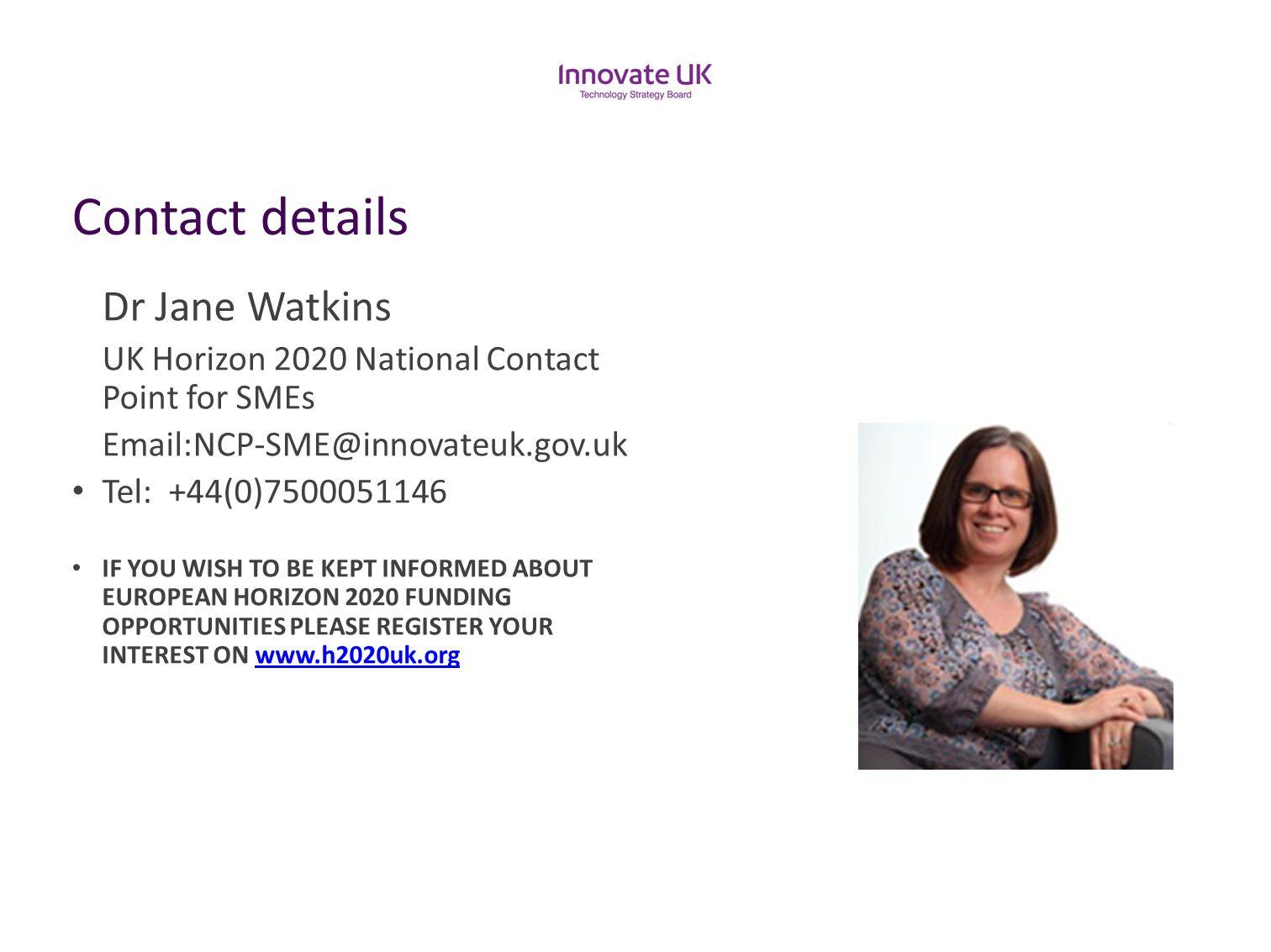 Contact details Dr Jane Watkins