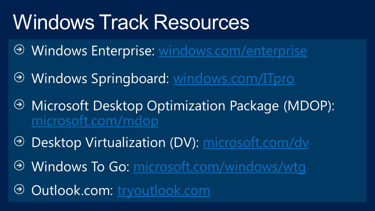 Windows Track Resources