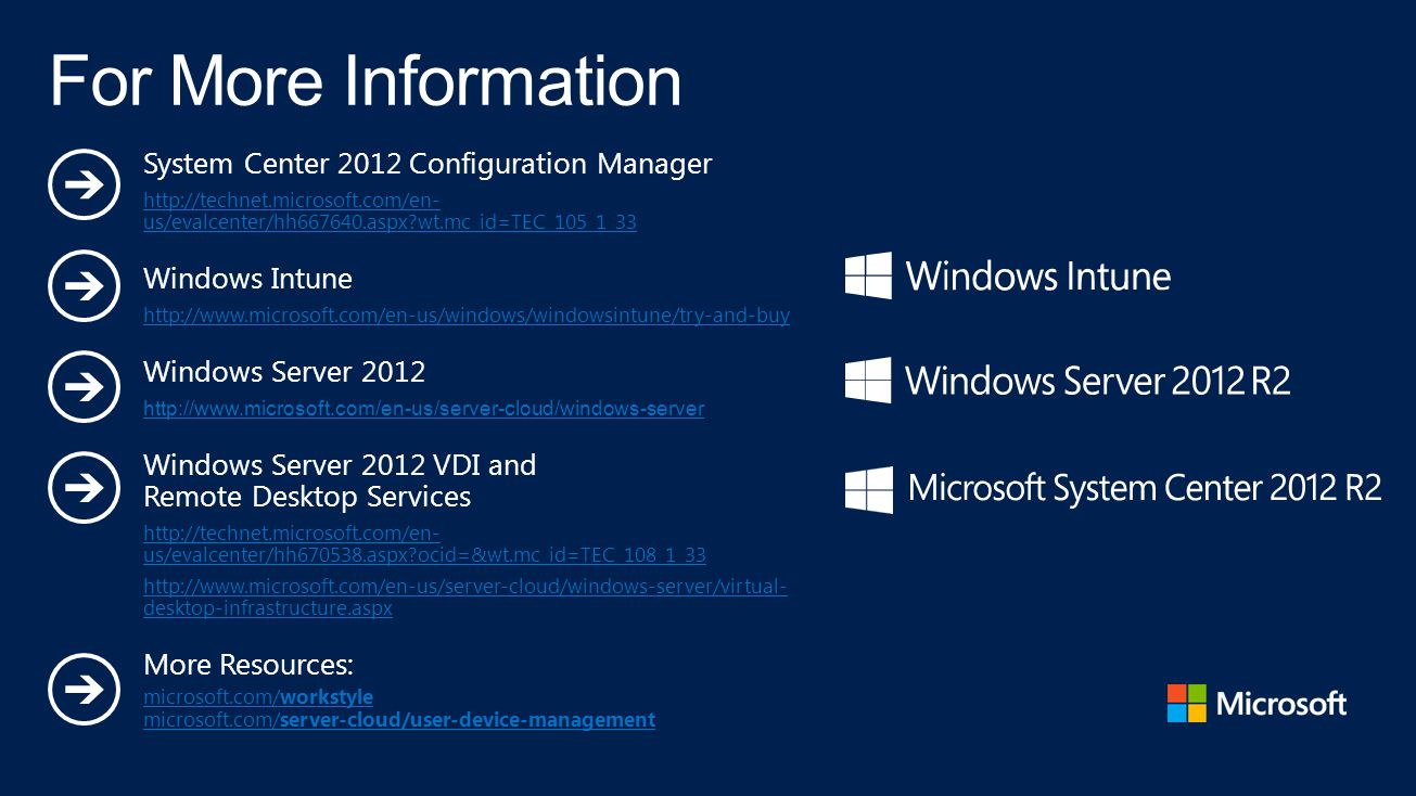For More Information System Center 2012 Configuration Manager
