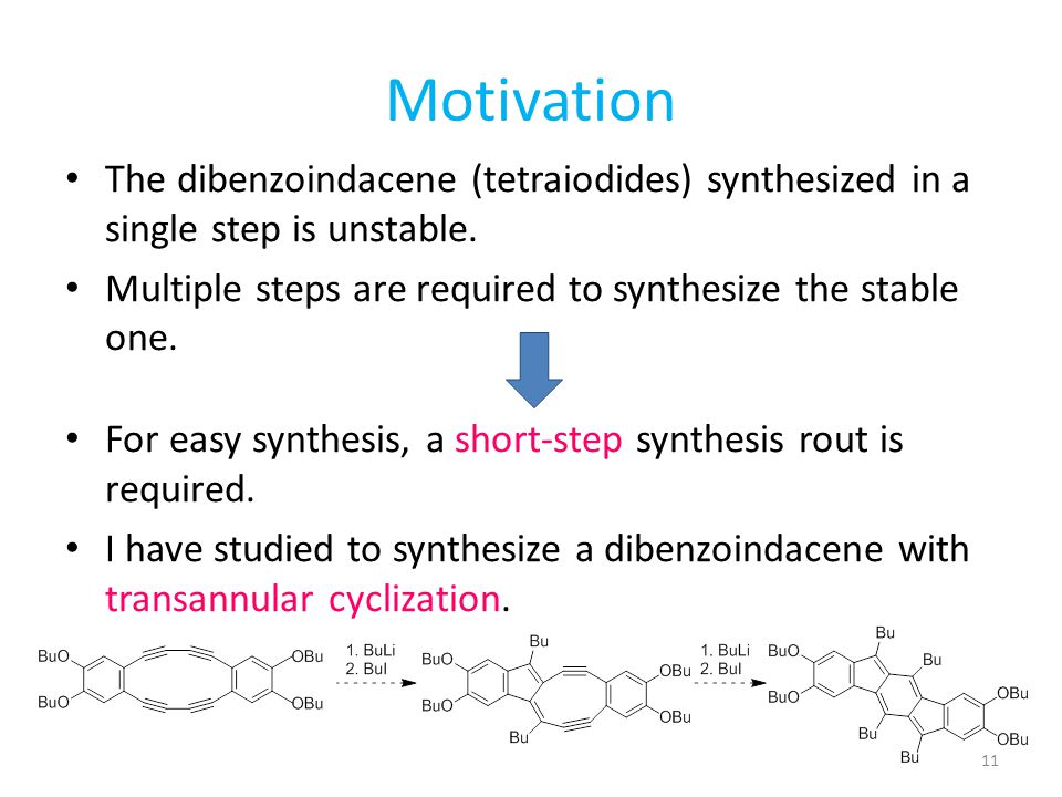 Motivation The dibenzoindacene (tetraiodides) synthesized in a single step is unstable. Multiple steps are required to synthesize the stable one.