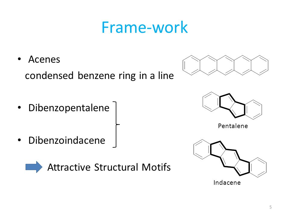Frame-work Acenes condensed benzene ring in a line Dibenzopentalene
