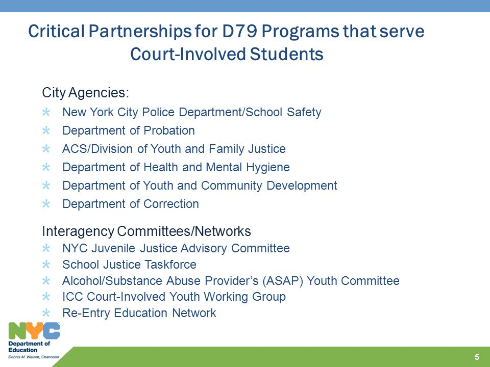 Critical Partnerships for D79 Programs that serve Court-Involved Students