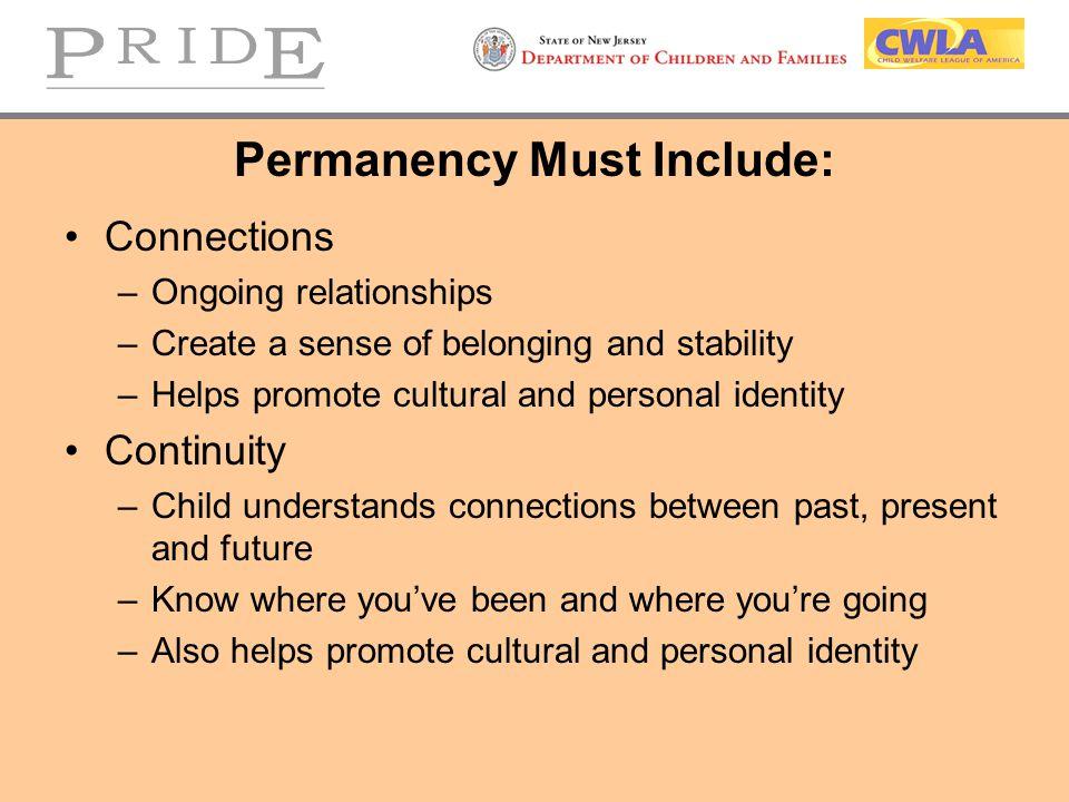 Permanency Must Include: