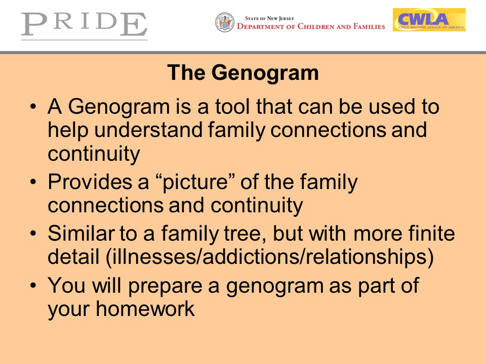 The Genogram A Genogram is a tool that can be used to help understand family connections and continuity.