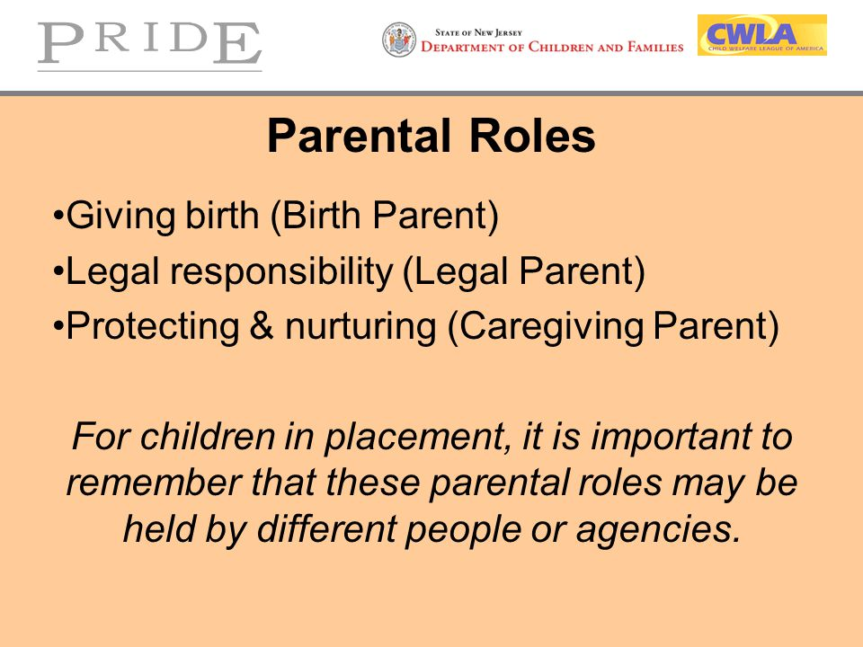 Parental Roles Giving birth (Birth Parent)
