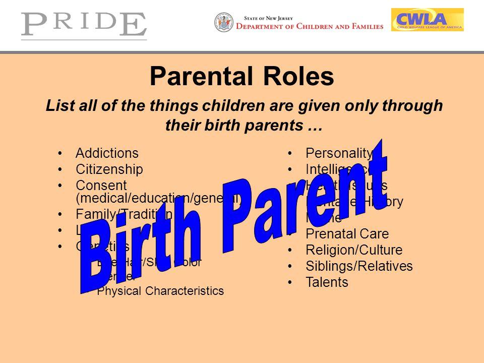 Parental Roles Birth Parent