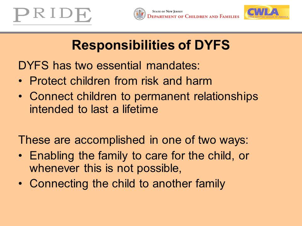 Responsibilities of DYFS